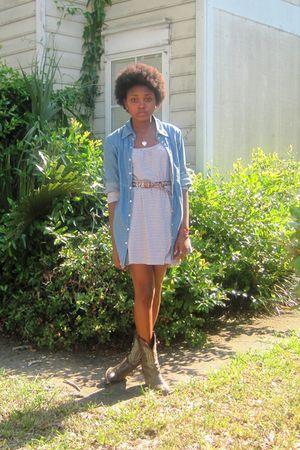 brown dress - blue denim shirt - brown Cowboy boots - brown belt