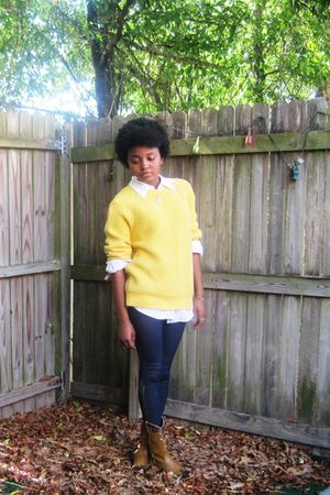 yellow sweater - blue jean leggings - brown Cowboy boots - white blouse
