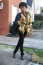 black belt - gray shoes - black pants - gold blouse - sweater