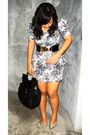 White-divisoria-dress-black-paporma-belt-gold-landmark-shoes-black
