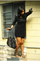black soiree dress - black thrifted - silver Rusty Lopez shoes - black flea mark