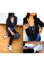 thrifted jacket - Jeans West top - factory outlet stockings - divisoria shoes -