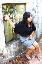 black Mango top - silver Pink Manila skirt - silver Rusty Lopez - black flea mar