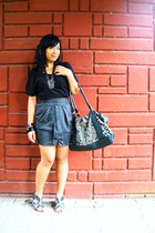 black flea market top - gray Pink Manila skirt - gray flea market shoes - black