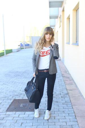 white nike sneakers - black H&M jeans - charcoal gray Zara blazer