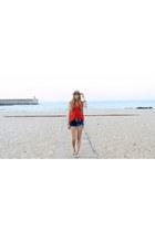 red Primark blouse - blue Bershka shorts - white Primark sandals