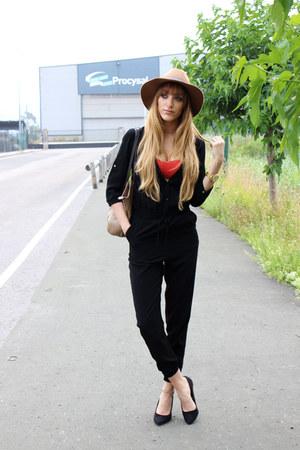 black Primark shoes - light brown H&M hat - black Bershka bodysuit