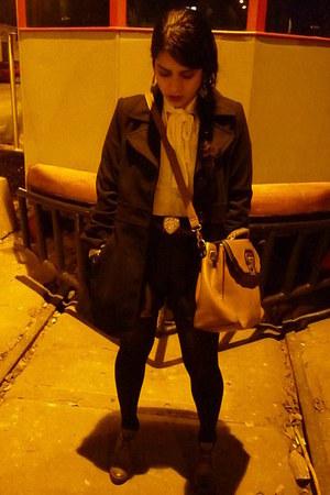 ecco boots - Marquis coat - Basement bag - silk axxs shorts