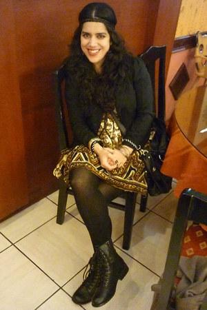 indian dress vintage dress - vintage boots - Basement blazer - DO it bracelet