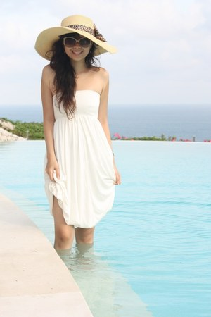 white bought in Bali dress - bought in Shanghai hat