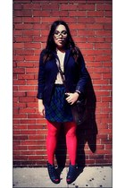 navy blue Paris Hilton heels - navy navy blue BCBG blazer - red red HUE tights
