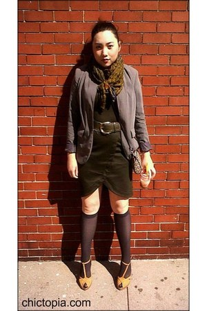 forest green Ellen Tracy dress - grey vintage blazer - brown Fendi bag - mustard