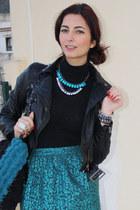 black H&M jacket - teal Nina bag