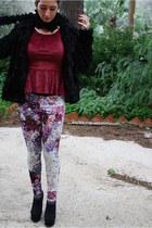 black H&M coat - crimson Tally Weijl shirt