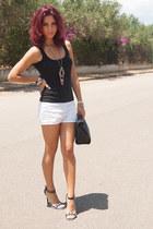 cliche necklace - black Zara bag - white united colors of benetton shorts