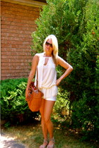bronze leather Michael Kors bag - ivory cotton pink martini shorts