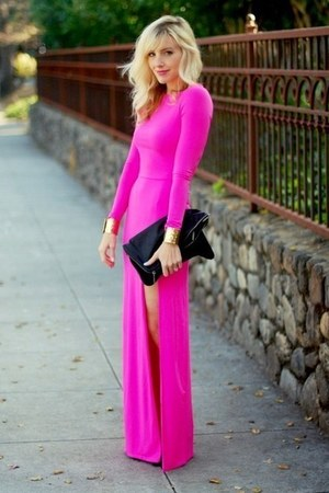 hot pink slit dress unknown dress