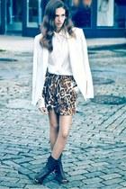 ivory Top Shop blazer - leopard print vintage skirt