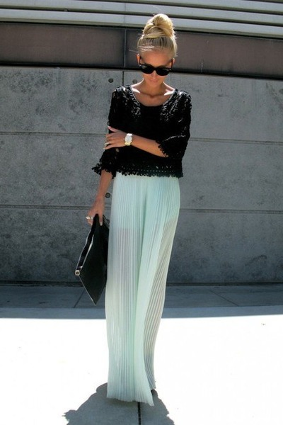 aquamarine pleated skirt Top Shop skirt - black unknown blouse