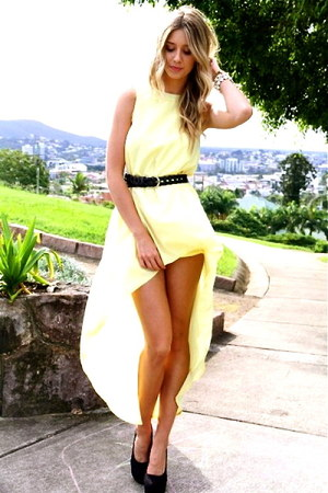 light yellow high low Top Shop dress - black leather Forever 21 belt