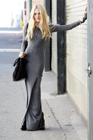 heather gray maxi Topshop dress - black leather unknown bag