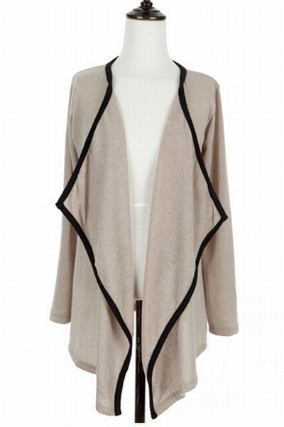 acrylic blend TISVIN Contrast-Trim Open-Front Cardigan cardigan