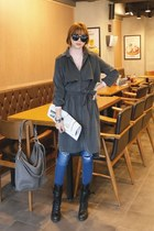 charcoal gray flap trench redopin coat