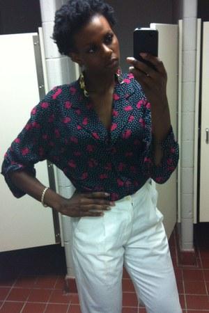 white high waist no brand pants - magenta random brand blouse
