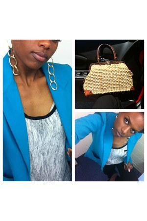 aquamarine random brand blazer - bronze no brand purse - white Forever 21 blouse