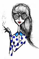 blue Zara shirt - black Chanel glasses