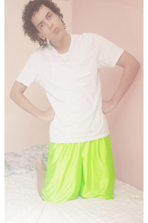 white Hugo Boss shirt - chartreuse nike shorts
