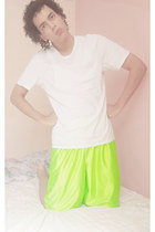 white Hugo Boss shirt - chartreuse nike shorts