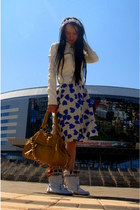 blue Pepe Jeans dress - white Jeffrey Campbell boots - white Guess jacket