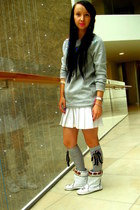 heather gray H&M sweater - white Jeffrey Campbell boots