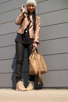 black Marc Jacobs shirt - dark khaki Bebe jacket - Guess bag - black Zara pants