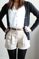 black opaque Marshalls tights - beige taupe canvas Forever 21 shorts