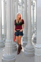 Topshop shorts - ivory Zara boots - Topshop top