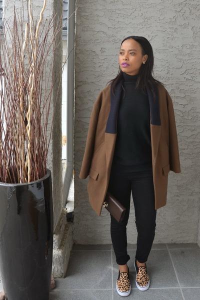 camel Walmart sneakers - brown Zara coat