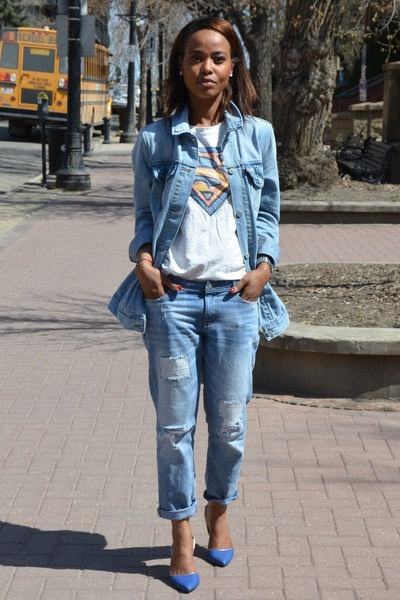 blue C Label heels - sky blue denim Levis jacket