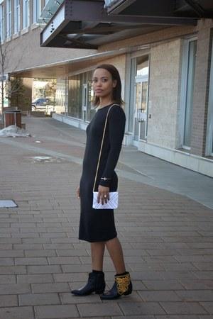 gold Forever 21 boots - black Zara dress
