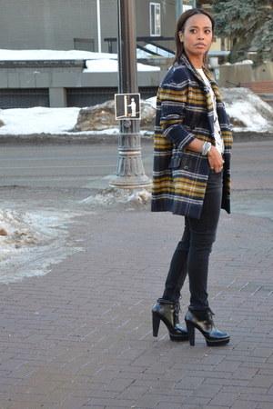 navy Zara coat - black Zara boots - black denim Zara jeans