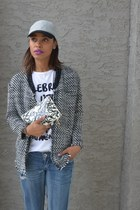 dark gray tweed H&M jacket - white kate spade bag