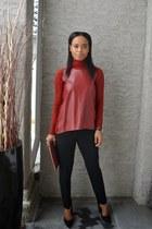 crimson faux leather Zara blouse - brick red faux leather Indigo bag