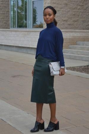 dark green faux leather Zara skirt - navy Zara top - black Zara wedges