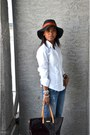 White-anne-klein-shirt-sky-blue-gap-jeans-dark-green-eddie-bauer-hat