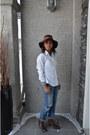 Sky-blue-gap-jeans-dark-green-eddie-bauer-hat-white-anne-klein-shirt