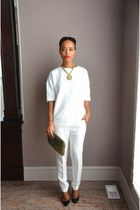 white Forever 21 blouse - white linen Zara pants
