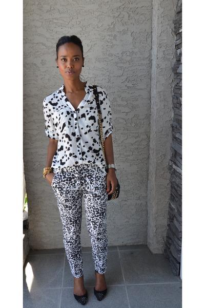 black JCrew pants - white Dynamite blouse
