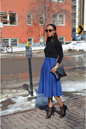 blue eShakti skirt - black just fab heels