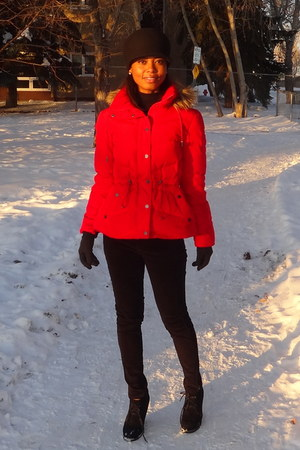 red Kenneth Cole coat - black DKYN jeans